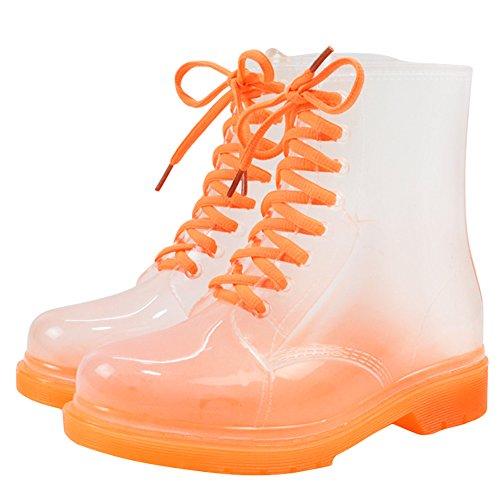 Damen Regenstiefel Kurzschaft Stiefel Gummistiefel Gummistiefeletten Boots, Outry Rain Boot Regenstiefelette Gummistiefelette Reitstiefelette Stiefel (EU40, Stiefel-Orange)