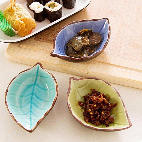 saibang Blattform Saucenschalen, Handverarbeitetes Keramik Teller (4er Pack) White Porcelain Side Plate