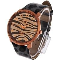 Zebra-stripe Orologio Quarzo con Leopard Print Pattern Ecopelle Band