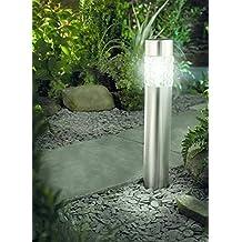 Solarleuchte mit Bewegungsmelder Solar Gartenleuchte Glas Edelstahl 56 cm | Gartenleuchte Solar mit Bewegunsmelder und 4 super brite LED