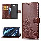 Edauto Sony Xperia XA3 Ultra Handyhülle Hülle Glücksklee Wallet Flipcase PU Leder Schutzhülle Bookstyle Handytasche Brieftasche Kartenfach Ständer Magnetisch Silikon Handyschale Bumper Hardcase Brown