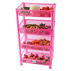 Novicz Plastic 4-Layer Cutlery Rack, Pink