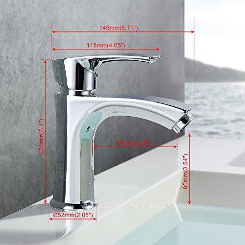 Homelody Waschtischarmatur Badarmatur Bad Mischbatterie Waschbecken Armatur Chrom Wasserhahn Waschbeckenarmatur f. Badezimmer -