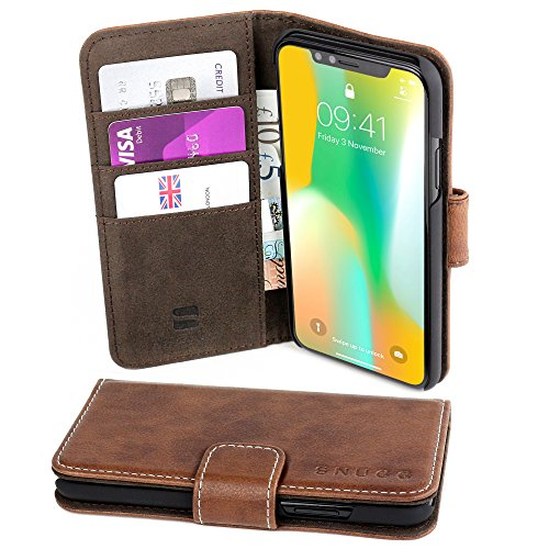 new arrival f96c2 2593f PDF Descargar iPhone X Case, Snugg Distressed Brown Leather Flip ...