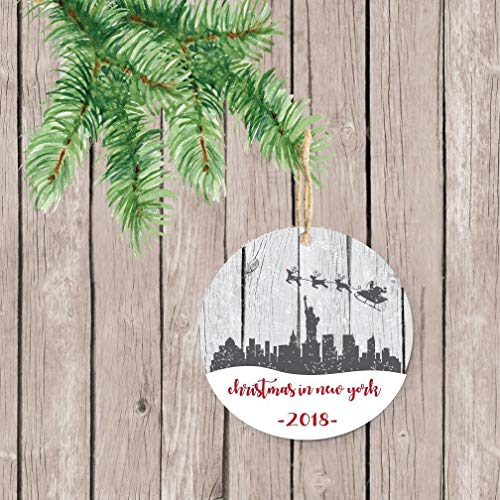 prz0vprz0v New York City Christmas Ornament, NYC Christmas Ornament, Santa, Reindeer, Personalized Christmas Ornament, Christmas Ornaments, New York Keepsake, 3