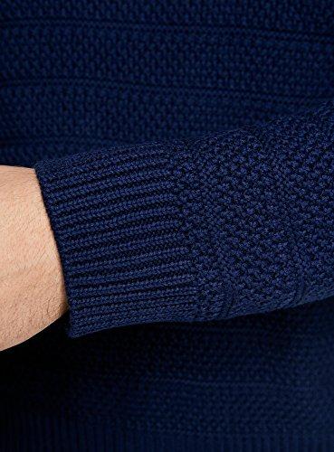 oodji Ultra Herren Strukturierter Strickpullover mit Rundhalsausschnitt Blau (7500N)