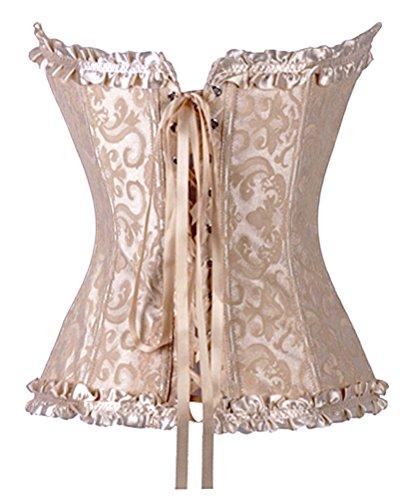 Charmian Women's Burlesque Sweetheart Satin Laces Boned Overbust Corset Bustier Zip avorio