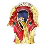 F Fityle Esmaltado Joyero Elefante de Colores Artesanía Étnico Vintage de Tailandia Joyas Accesorios - Rojo