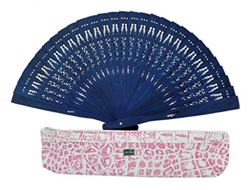 Zerimar fundas fabricadas en piel para abanicos u otros usos incluye bonito abanico Fundacolor blanco rosa