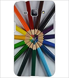 PrintDhaba Colour Pencils D-2239 Back Case Cover for SAMSUNG GALAXY J1 (Multi-Coloured)