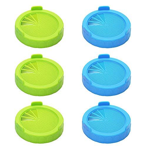 6 Stücke Sprossengläser Deckel aus Kunststoff, Sprießen Deckel für Weithals-Einmachgläser - Wachsende Sprösslingen Samen zu Hause -