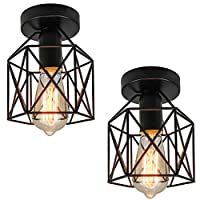 Industrial Ceiling Light Flush Mount Vintage Pendant Light Ceiling Light Fixture Oil Rubbed Finish Metal Lamp Cage with Wire for Kitchen Bedroom Living Room-2pcs