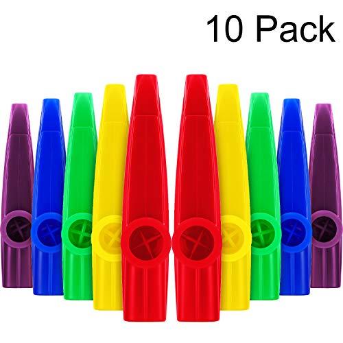 10 pezzi kazoos di plastica strumenti musicali con kazoo diaframmi di flauto per regalo, premio e bomboniere (5 colori)