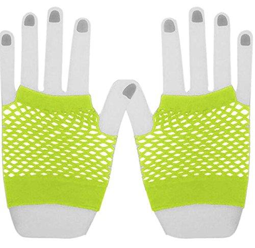 Lange, fingerlose Fischnetz-Handschuhe, gelb, Short Gloves