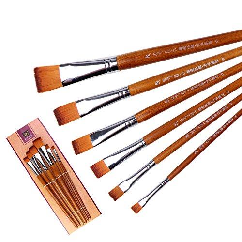 Stift Malen Nylon Wolle Kunst Pinsel Set mit Wasser-Pulver Ölgemälde Pinsel Bunte Stifte (Farbe : Braun)