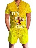 Goodstoworld Herren 3D Druck Sommer Jumpsuit Zipper Kurz Anzug Overall Onesie Strampler Golden Orange Bier L