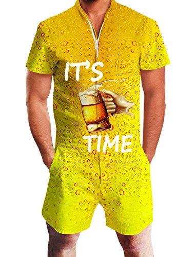 Goodstoworld Herren 3D Druck Sommer Jumpsuit Zipper Kurz Anzug Overall Onesie Strampler Golden Orange Bier L (Orange Shorts Kostüm)