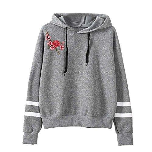 OVERDOSE Damen Blume Stickerei Applique Langarm Hoodie Pullover Sweatshirt Strickjacke Crop Top Coat Sport Pullover Tops (S, C-Grau) (Jumper Bestickte)