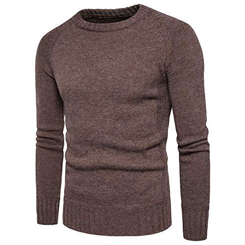 163ec9bb8c5a Xmiral Herren Pullover mit O-Ausschnitt Knitting Fabrication Knitting  Fabrication Tops (S,Kaffee)