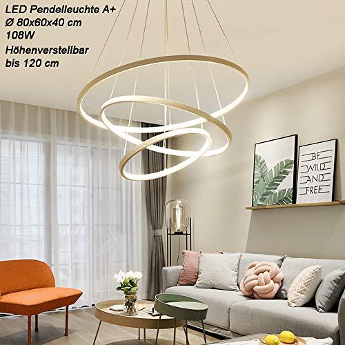 Weiß 2130-3 Ringe LED Pendelleuchte mit Fernbedienung Lichtfarbe und Helligkeit einstellbar Acryl-Schirm weiß lackiert (2130White-3 70x50x30 cm)