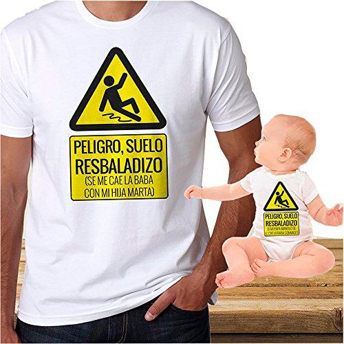 Calledelregalo Regalo Personalizable Para Padres e Hijos: Pack de Dos Camisetas 'Peligro' Personalizadas con Sus Nombres