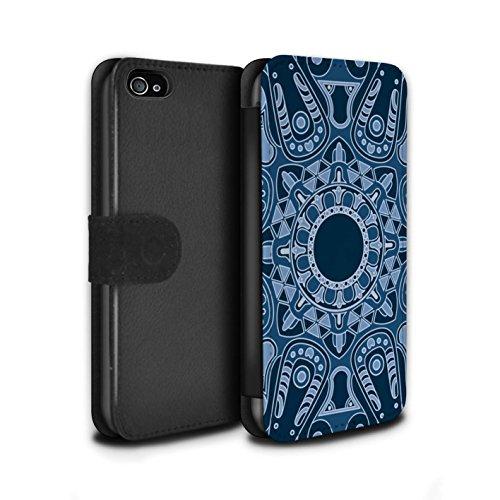 STUFF4 PU-Leder Hülle/Case/Tasche/Cover für Apple iPhone 4/4S / Blumen/Blau Muster / Mandala Kunst Kollektion Achteck/Blau