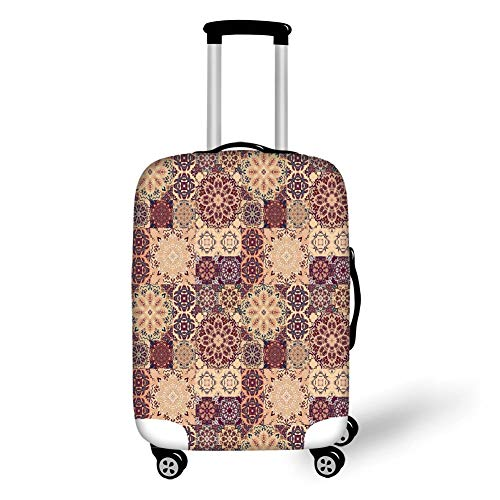 Travel Luggage Cover Suitcase Protector,Moroccan,Grid Style Ornate Ceramic Style Tile Orient Vintage...