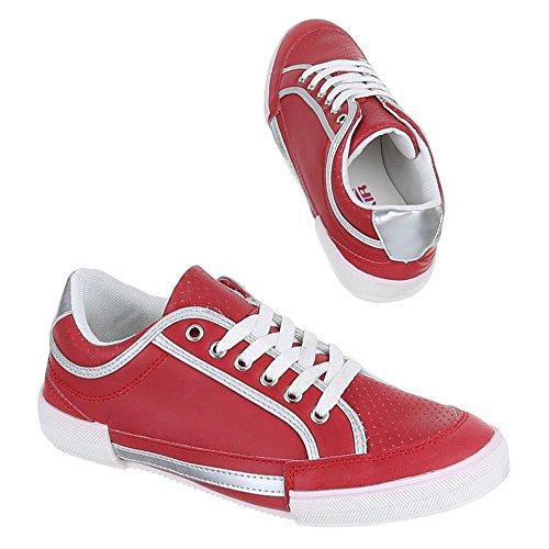 Ital-Design, W de 338, loisirs Baskets Chaussures de sport Rouge - Rouge