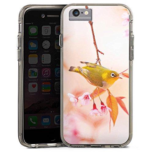 Apple iPhone 6s Bumper Hülle Bumper Case Glitzer Hülle Bird Vogel Natur Bumper Case transparent grau