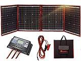 DOKIO 150 W Solarpanel-Set, monokristallin, tragbar, flexibel, faltbar, inkl. Solarladeregler und PV-Kabel für 12 V Batterie Laden Wohnmobil