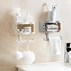 HOME CUBE Plastic Bathroom Wall Shelf with Seamless Suction for Towels and Toilet Paper, 1 Piece (Multicolor)