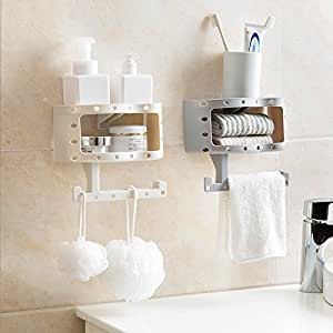 ... HOME CUBE Plastic Bathroom Wall Shelf With Seamless Suction For Towels  And Toilet