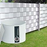 Sichtschutzstreifen Hart - PVC / 19cm x 2,52m (HxL) | weiß | 9 Stück mit 18 Klemmschienen | M-tec Technology | - Bitte beachten Sie den Musterfächer -