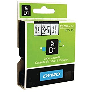 DYMO D1 Labeling Tape Black On White Tape, 1/2'' W x 23' L, 1 Cartridge (45013) S0720530 12mm x 7 metre (B0006B2RNQ) | Amazon price tracker / tracking, Amazon price history charts, Amazon price watches, Amazon price drop alerts