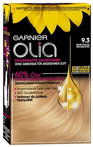 Garnier Olia Haar Coloration Sehr Helles Goldblond 9.3 / Färbung für Haare enthält 60{9f94acc9cd25732d9db616f1373373cb0336da0d1713693c9d4488dd8c94e89f} Blumen-Öle für intensive Farbkraft - Ohne Ammoniak - 3 x 1 Stück