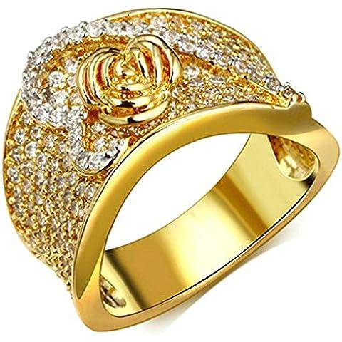 Fedi Nuziali Donna Placcato Oro Rosa Mezza Cuore Surtondo Zirconia Cubicia Per (22k Oro Cuore)