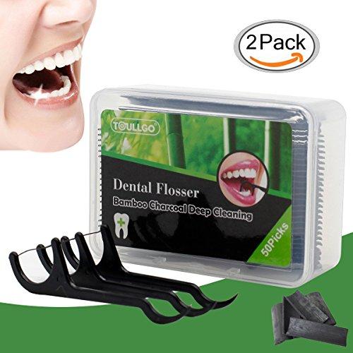 Zahnseide, Zahnseide Stick, Dental Floss, Zahnseidensticks, Zahn Draht, Zahnstocher Stick Oralpflege, 100 Stück Zahnseide-Stick Bamboo Charcoal Interdental Flosser Zahnreiniger Sticks -