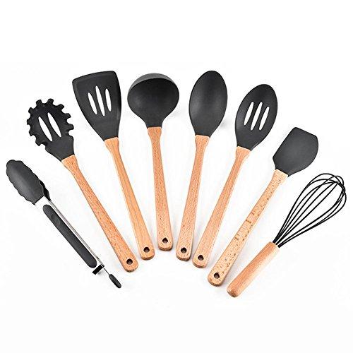 Silikon-Schaufel-Set silikon küchenhelfer Küchenhelfer Küche Kochutensilien Set Schaufel Umwelt Tool-Kit 8 Stück schwarz
