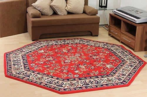 Design Teppich Klassika rot Orient Muster Achteck