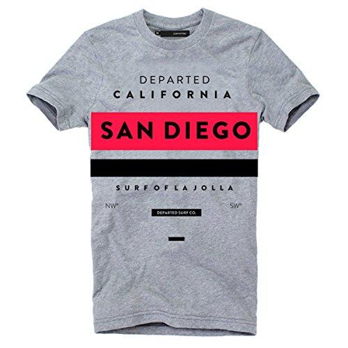 DEPARTED Herren T-Shirt mit Print/Aufdruck 3580-030 - New fit Größe L, Grey