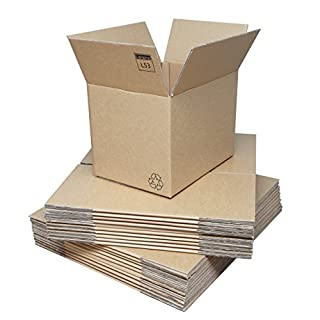 Double Walled Cardboard Boxes - 380x280x288mm (15x11x11ins). Pack of 20 Strong Flatpacked Cardboard Cartons for Shipping/Packing, Moving & Storage. Crush-Resistant Brown Corrugated Board with Kraft Finish & Lid Flaps. Easy Assembly. Recyclable. Prompt Delivery