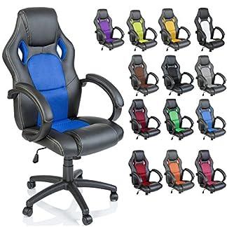 TRESKO Racing Silla de oficina silla de escritorio silla de ordenador silla giratoria disponible en 14 colores, bicolor, silla Gaming ergonómica, pistón de gas certificado por SGS, silla adecuada para niños mayores