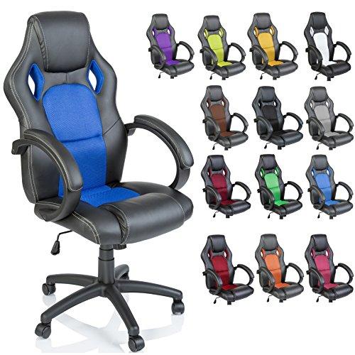 Foto TRESKO Sedia da ufficio Poltrona ufficio Versione Racing 14 diferente colores, braccioli imbottiti, inclinazione, sollevare SGS testato (Blu)