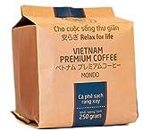 VietBeans Hello5 Mondo – Hochwertige Kaffeebohnen aus dem Hochland von Da Lat Vietnam – Kaffee aus zwei Sorten Arabica verfeinert mit auserlesenem Robusta – Traditionell schonend und säurearm geröstet – 250g