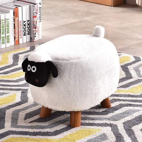 MANXUEUP Chair Kinderhocker Kinder Möbel Kinder Osmanische Kinderhocker Hocker Massivholz + Stoff Panda Cattle Sheep HockerElfenbein -