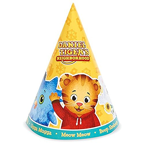 Daniel tiger party supplies - cone hats (8) with strings by birthdayexpress