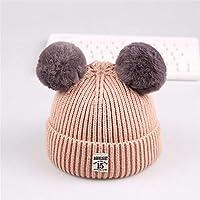 ETMAAA Kinder Wolle Hüte Kinder Doppelkugel 1985 Standard Warme Mütze Baby Strickmütze, um kalten Hut zu verhindern