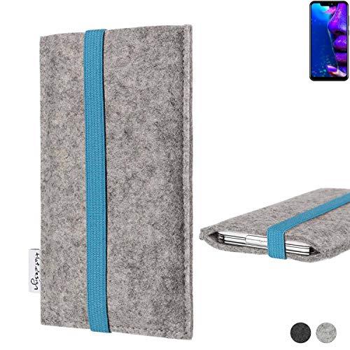 flat.design Handy Hülle Coimbra für Allview Soul X5 Pro - Schutz Case Tasche Filz Made in Germany hellgrau türkis