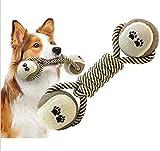 Yosoo Interaktive Hundespielzeug Hunde Kauspielzeug Kauseil Wurfspielzeug Wurfball Robust Hund Floss Zahnpflege Ball Seil
