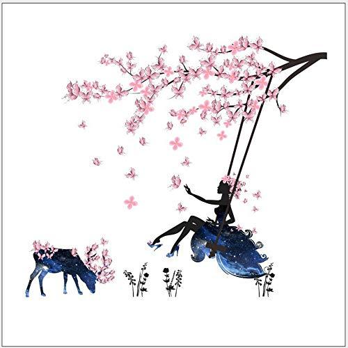 Flower Fairy Girl Swing Deer Selbstklebende Paper Room Dress Up Plum Wandaufkleber (Dress Up Fairys)